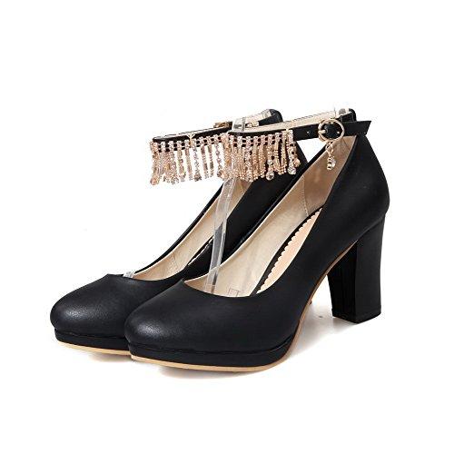 AllhqFashion Femme Matière Mélangee à Talon Correct Boucle Rond Chaussures Légeres Noir