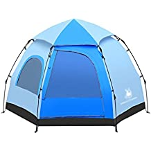 Tente de haute qualité - Outdoor Hexagonal Automatic Tents Spring Rods Camping Tent Construction gratuite Single Layer 3-4 People Big Tent --Confort de voyage à l'extérieur VENTE