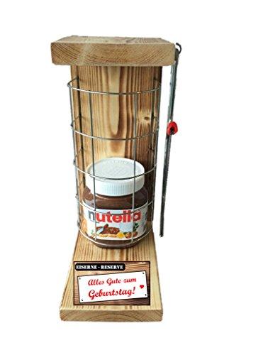 Alles Gute zum Geburtstag Die Eiserne Reserve Befüllung mit Nutella 450g Glas - incl. Bügelsäge zum aufschneiden des Metallgitters - Das ausgefallene witzige originelle lustige Geschenk Geschenkset 4