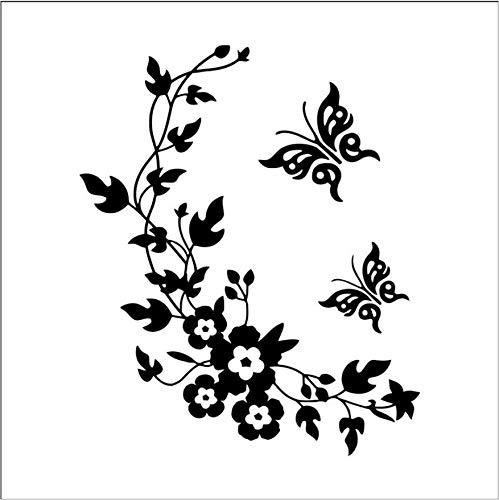 Namefeng Wandaufkleber Schmetterling Blume Reben Wc Toilette Aufkleber Bad Vinyl Kunst Geschnitzte Wohnkultur Wandtattoos DIY Türaufkleber Muraux 28X34 cm