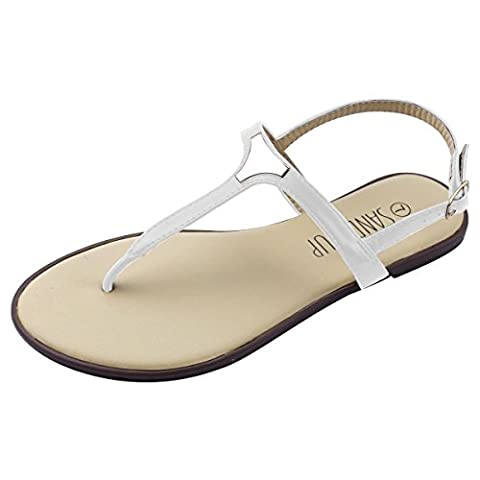 Sandalup Triangle-metal, Women's Sandals - White, 7 UK