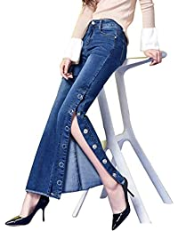 Pantalones Vaqueros Puntos Pantalones De Pantalones Elásticos Campana  Bastante Mujer Dividir Borla Micro Pantalones Más Alrededor 4aa74137b9bd