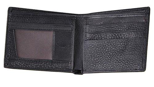 Everdoss Hommes portefeuille en cuir portemonnaie sac à main bourse sacoche pliable court noir