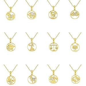 aion-Sternzeichen Gold 585 – Anhänger mit Kette-Damen Gelbgold 14kt Goldanhänger Tierkreiszeichen