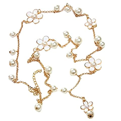 LHWY Women's Elegant Pearl Flower Sweater Chain Long Pendant Necklace Fashion Jewelry for Girls