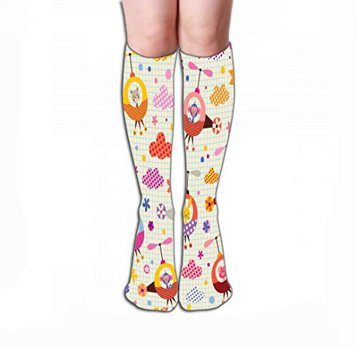 908iop 980 Calze Alte Compression Socks 19.7'(50cm) for Women & Men - Best for Running, Athletic Sports, Crossfit, Flight Travel Cute Animals Helicopters Kids Pattern Note Book Paper Watermark