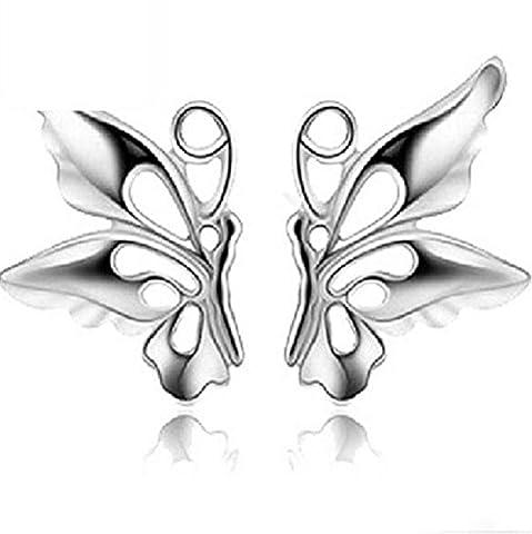 TIZIKJ Frau Weiß Kupfer Schmetterling Ohrringe Schmuck