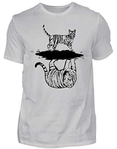 Kostüm Katze Katzenklo Und - Katzen Tiger Spiegelbild Inspiration - Herren Shirt -M-Pazifik Grau