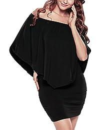 MinYuocom Femme Épaules Dénudées Ruffles Bodycon Mini Soirée Robe élasticité Grand Taille Noir MZF3324