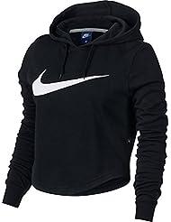 Nike W Nsw Hoodie Crop Swsh Sudadera, Mujer, Negro (Black / Black / White), S