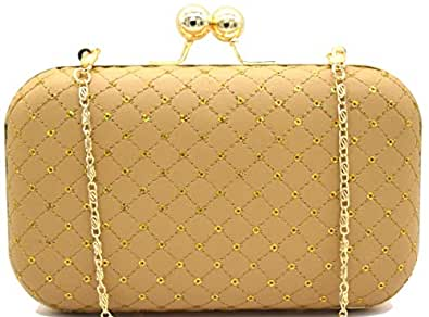 Tooba Handicraft Party Wear Beautiful Bling Box Clutch Bag Purse For Bridal, Casual, Party, Wedding (Beige Sequins)