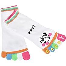 SODIAL Calcetines de cinco dedos de chica pequena mujer senora Calcetines de tobillo deportivos, Blanco