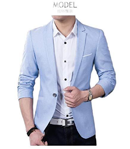 CuteRose Mens Thin Parka Hoodie Jackets Casual Loose Fit Blazer Jackets Light Blue 3XL - Light Blue Tweed