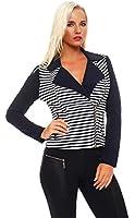 5689 Fashion4Young Damen Kurzjacke Jäckchen Jacke Taillierte Kurzjacke mit Doppel-Revers in 3 Farben