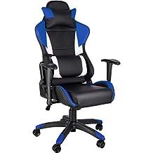 TecTake Silla de Oficina ergonomica Racing Gaming con Soporte Lumbar (Negro-Azul-Blanco
