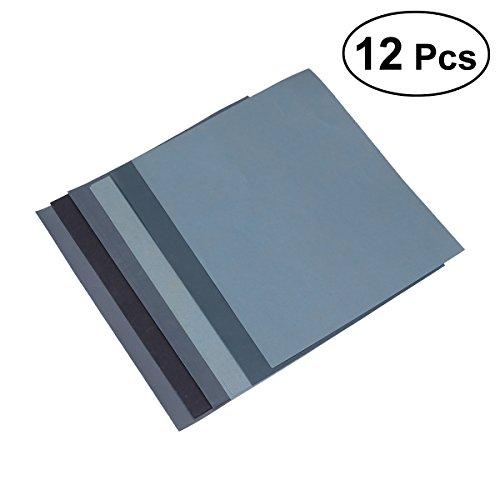 OUNONA 5,1 * 11 Zoll Schleifpapier Trocken Nass Schleif Sand Papier Set (1500 2000 2500 3000 5000 8000), 6-Blatt