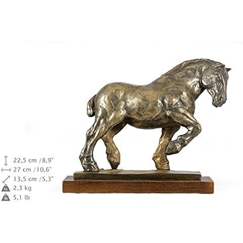 Belga da tiro, statua del cavallo in base legno, ArtDog