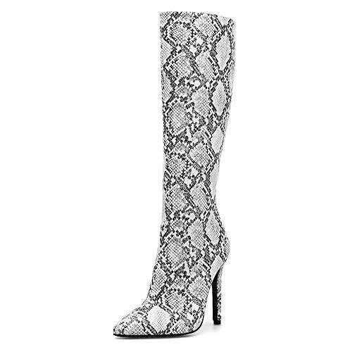 Frauen boomen Winter Sexy Patent Leather Stiletto High Heel Platform Over Knee Thigh Knee Boots Slim Calf Stretch Stage Zip Up Shoes,White,40EU - White Patent Knie Hoch Stiefel
