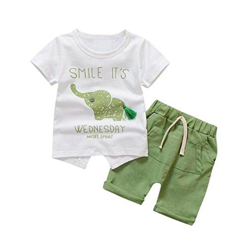 eborenes Kleinkind Baby Kinderkleidung Mädchen Jungen Cartoon Elefanten Sommer Shorts Tops T-shirt Hosen Kurzarm Outfits 2Pcs Set(0-3Jahre) (S, Grün) (Gute Kostüm Ideen Für Jungen)