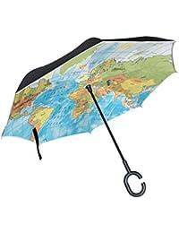 XiangHeFu - Paraguas invertido de Doble Capa, diseño de mapamundi Plegable, Resistente al Viento