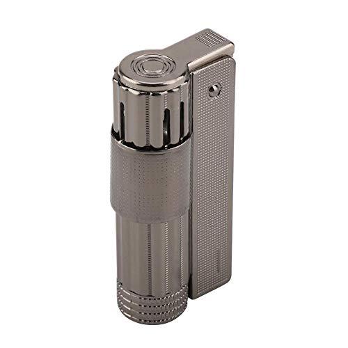 Benzin Feuerzeug Vintage Klassisch Stilvolles Design Tragbar Taschenfeuerzeug Edelstahl für Zigarette (Kein Kraftstoff)(Schwarz)