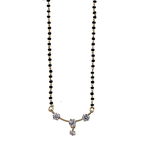 Zeneme American Diamond Silver & Gold Plated Mangalsutra with Chain for Women  available at amazon for Rs.199