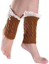 Gillbro Mujeres Mujeres de arranque puños de encaje de punto de arranque calentador de la pierna Calcetines Botones Topper