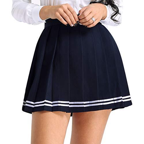Schule Mädchen Kostüm Einheitliche - Alvivi Damen Rock Schulmädchen Rock Faltenrock Einheitliche Uniform Rock Skater Röcke Outfit Freizeit Party Cosplay Kostüm Gr.S-XXXL Marineblau S