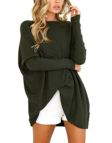 CoCo Fashion Damen Lose Bluse Fledermaus Langarm Pullover Normallacks Shirt Casual Oberteil Übergröße, Armeegrün, Gr. L