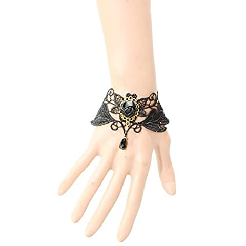 Frau Polyester-Spitze Einfach Armband Vampir Handarbeit Schwarze Rose Dame Armband,Black-L
