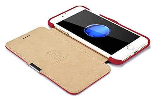 Luxus Tasche für Apple iPhone 8 Plus und iPhone 7 Plus (5.5 Zoll) / Case mit Echt-Leder Außenseite / Schutz-Hülle seitlich aufklappbar / ultra-slim Cover / Etui mit Textil-Innenseite / Vintage Look /  Rot - glatt