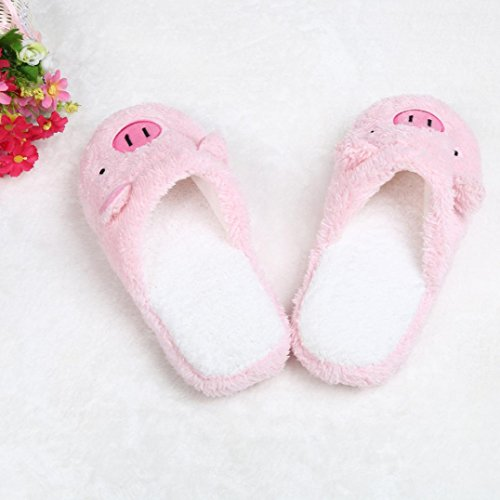 Hiver chaud Maison Chaussons, Yogogo Hommes Femmes Belle Pig Chaussures Indoor Rose