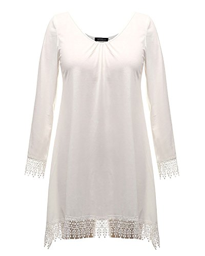 StyleDome Damen Tassels Crochet Länge Ärmel Beach Kurze Mini Kleid Weiß