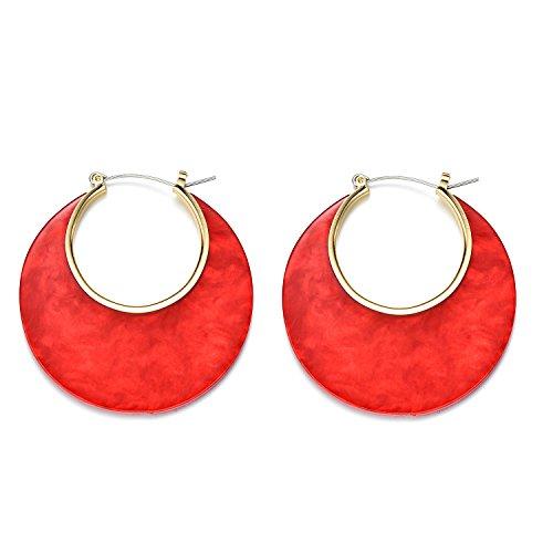 Onnea Rote Acryl Große Creolen Ohrringe Modeschmuck Damen Mädchen (Große Ohrringe Modeschmuck)