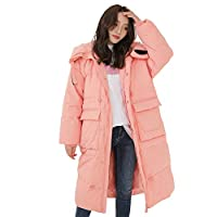 Losse dikke warme Down Jacket Coat, Fashionable Coat Soft kogelvis Mid-Length Koord Winter slijtvast 90% White Duck Down Down Jacket Coat,Pink,L