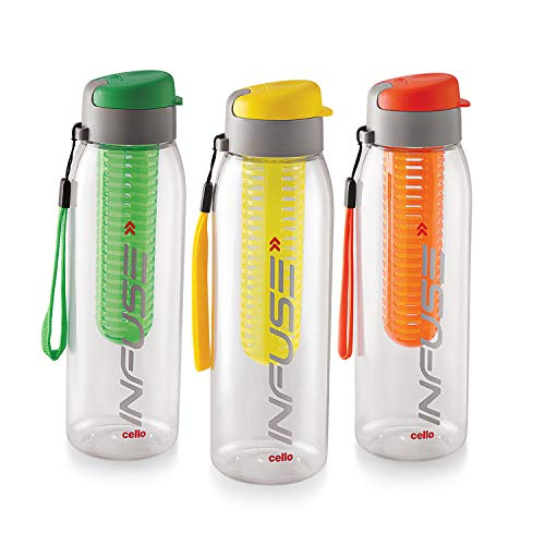 Cello Infuse Plastic Water Bottle Set, 800ml, Set of 3, Assorted