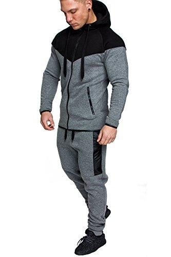 Amaci&Sons Herren Kontrast Sportanzug Jogginganzug Trainingsanzug Sporthose&Hoodie Neu 1012