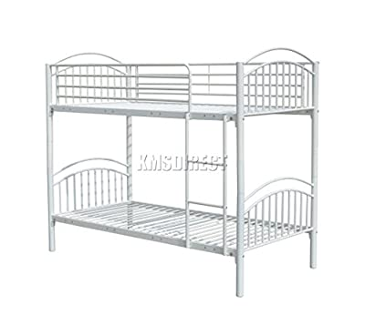 FoxHunter 3FT Single Metal Frame Bunk Bed Children Kids Twin Sleeper No Mattress Bedroom Furniture White MBB04