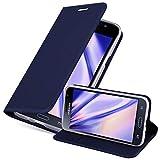 Cadorabo Funda Libro para Samsung Galaxy J3 2016 en Classy Azul Oscuro - Cubierta Proteccíon con Cierre Magnético, Tarjetero y Función de Suporte - Etui Case Cover Carcasa