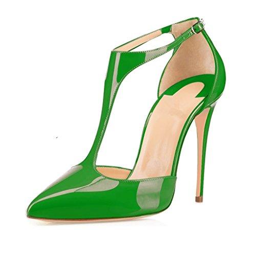 EDEFS Damen T-Spange Spitze Zehen Pumps Knöchelriemchen Schuhe mit Schnalle Grun