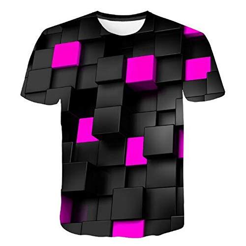 Sommer Kurzarm T-Shirts Top T Bluse Beiläufige Dünne Sport T-Shirt Männer Jungen T-Shirt Top,Geometrische Quadrate 3D Lila 4XL 6-tier-system Bin