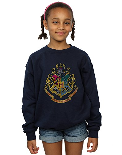 Harry Potter Mädchen Hogwarts Distressed Crest Sweatshirt 9-11 Years Marine - Jersey Girl Kinder Sweatshirt
