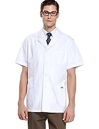 Harson&Jane Hombres Doctor Ropa de Trabajo y Laboratorio Médico de Bata Blanca Uniforme