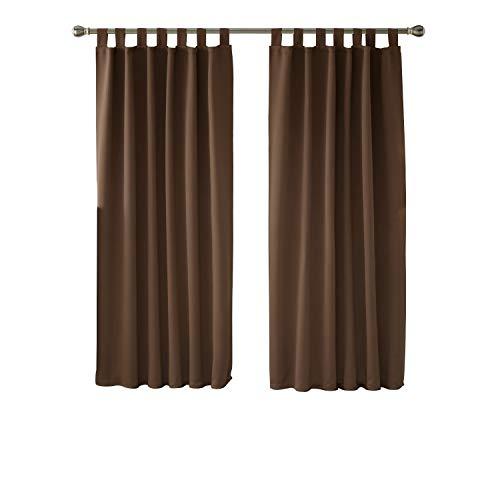 Deconovo Verdunkelungsvorhang Schlaufen Gardinen Schlafzimmer Vorhang Blickdicht Schlaufen 175×140 cm Braun 2er Set (Vorhang-sets Für Schlafzimmer)