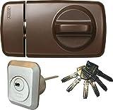 ABUS Tür-Zusatzschloss 7010 B braun, EC550, Kastenschloss mit Drehknauf, mit 6 Schlüssel, Ausführung EK (Metallausführung)