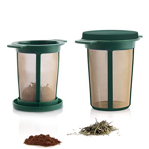 Finum BREWING BASKET Dauerfilter für Tee und Kaffee - Permanentfilter mit Gewebe aus Edelstahl - Teefilter und Kaffeefilter - Tassen Filteraufsatz Größe L, Grün -