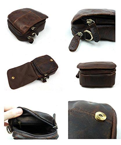 Everdoss Herren echt Leder Vintage mini Gürteltasche Umhängetasche klein Kuriertaschen Crossbody Schultertasche Messenger Bag Dunkel Braun