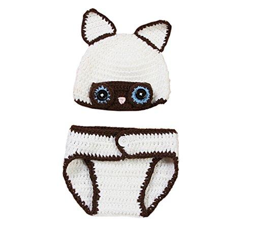 Fox White Kostüm - DELEY Baby Jungen Crochet White Fox Hut Hose Set Baby Kleidung Outfit Kostüm Foto Requisiten 0-6 Monate