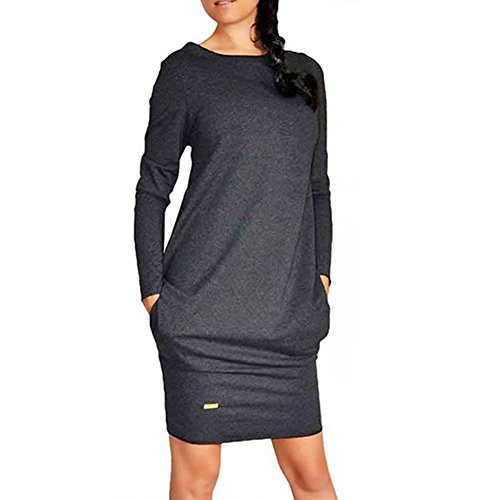 Etosell Femmes Pull A Manches Longues En Coton / Mini Robe Noir
