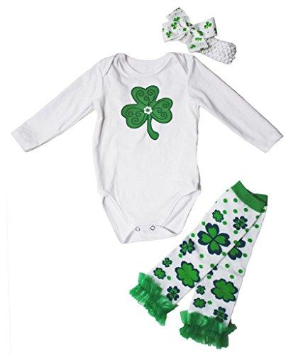 St Patrick Day Dress Green Clover White L/s Jumpsuit Leafs Leg Warmer Set Nb-24m (0-3 Monat) (Kleidung St Patrick S Kleinkinder Day Für)